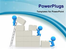 PowerPoint template displaying small blue figures building wall from large white blocks