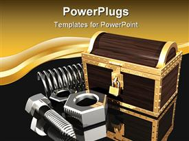 PowerPoint template displaying a number of spring bolts with golden background