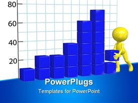 PowerPoint template displaying 3D representation of chart made of blue blocks with 3D yellow figure building profit chart bar graphic