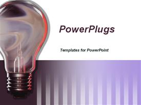 PowerPoint template displaying traditional light bulb on white and purple striped background