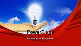 PowerPoint template displaying bulb in a hand on a background