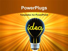 PowerPoint template displaying dark light bulb with word yellow colored word IDEA as filament