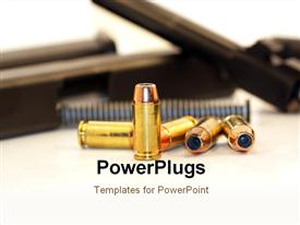 PowerPoint template displaying 40 caliber bullet with a disassembled handgun in the background