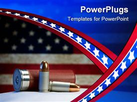 PowerPoint template displaying two 9mm bullets and a shotgun shell in front of an American flag