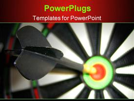 Dart hitting bulls eye macro up-close shot template for powerpoint