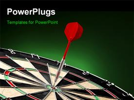 PowerPoint template displaying red dart sticks to bulls eye of colorful target