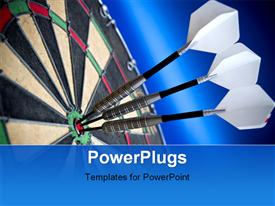Three darts sitting in the bulls eye template for powerpoint