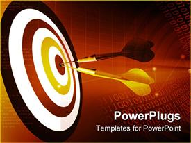 PowerPoint template displaying two darts hitting the Bulls Eye of a dart board