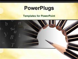 PowerPoint template displaying bunch of new pencils on white background