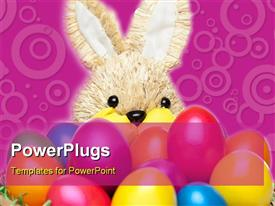 Easter bunny has basket full of colorful Easter eggs powerpoint design layout