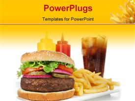 PowerPoint template displaying big juicy hamburger served with crisp French fries and ice-cold soda