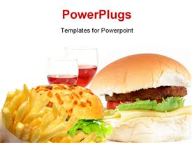 PowerPoint template displaying hamburger with cheese tomatoes and lettuce (fat-food)