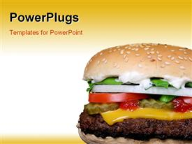 PowerPoint template displaying cheese burger with garden vegetables and onions on white and yellow background