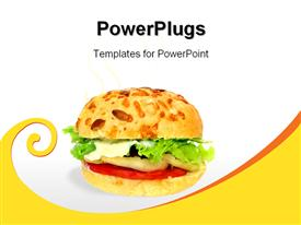 PowerPoint template displaying vegetable burger with green lettuce, white sauce, tomato slice on white background