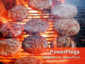 Flame broiled burgers cooking on grill over red hot smoky coals presentation background
