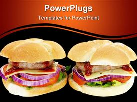 PowerPoint template displaying two hamburgers with meat, cheese slice, ketchup sauce, onion, tomato slice, green lettuce