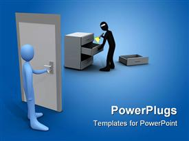 PowerPoint template displaying a pair of figures trying to perform the office tasks