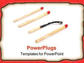 PowerPoint template displaying some red matches isolated on a white background