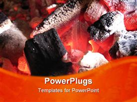 PowerPoint template displaying red hot charcoal briquettes starting to turn to ash, barbecue