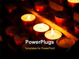 PowerPoint template displaying row of burning candles in church building at night