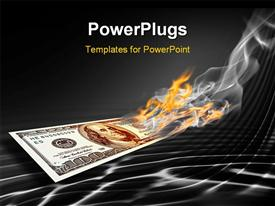 Burning one hundred dollars banknote on abstract black background powerpoint design layout