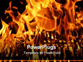 PowerPoint template displaying a burning fire with blackish background