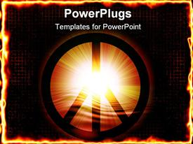 PowerPoint template displaying peace symbol on a soft glowing background