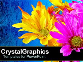 PowerPoint template displaying neon yellow and pink flowers over blue