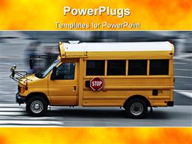 PowerPoint template displaying a high school bus moving swiftly on a road