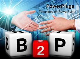 PowerPoint template displaying handshake over Business to People symbol with dice over hundred dollar bill