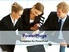 PowerPoint template displaying 3 persons meet for business deal in the background.