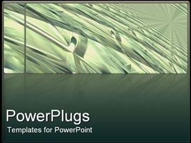 PowerPoint template displaying abstract depiction of silver wave lines on an ash colored background