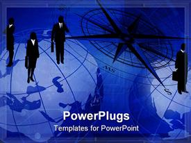 PowerPoint template displaying abstract background with compass icon and businessmen on world globes