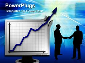 PowerPoint template displaying abstract graph depiction symbolizing extreme business success in the background.