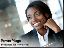 PowerPoint template displaying african-American business woman smiles into the distance in the background.