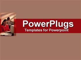 PowerPoint template displaying afro-American business woman man working on her co