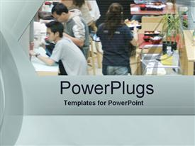 PowerPoint template displaying a number of workers and customers