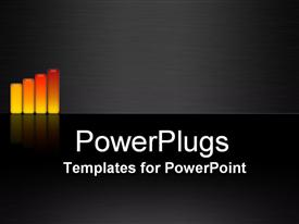 PowerPoint template displaying bar charts graphs rising on black background white text raising the bar
