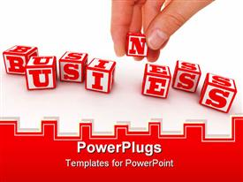 PowerPoint template displaying the representation of the word business with the help of dices