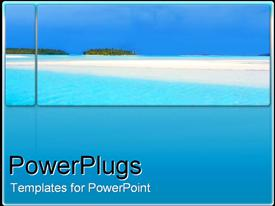 PowerPoint template displaying a calm blue sea landscape on a blue background