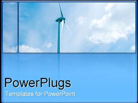PowerPoint template displaying large wind turbine against bright blue sky