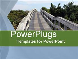 PowerPoint template displaying old wooden bridge in a park with many trees
