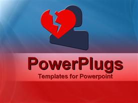PowerPoint template displaying a heartbroken person with blue and red background