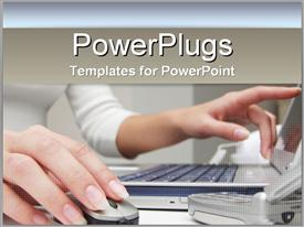 PowerPoint template displaying business woman on laptop with computer mouse on tan background white colors