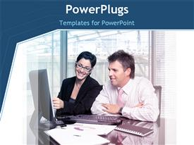 PowerPoint template displaying woman educating colleague as they discuss execution of plan