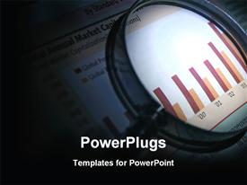 PowerPoint template displaying magnifying lens showing red and yellow Business analysis graphs on newspaper