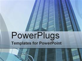 PowerPoint template displaying business Center in the background.