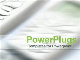 PowerPoint template displaying business communications swish in modern green and grey in the background.