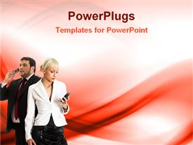 PowerPoint template displaying business couple in a abstract background