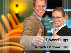 PowerPoint template displaying business couple behind of conference room in the background.